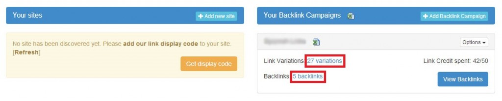 Automatic Backlinks's keyword tracking tool